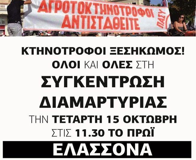 Συγκέντρωση διαμαρτυρίας κτηνοτρόφων στην Ελασσόνα