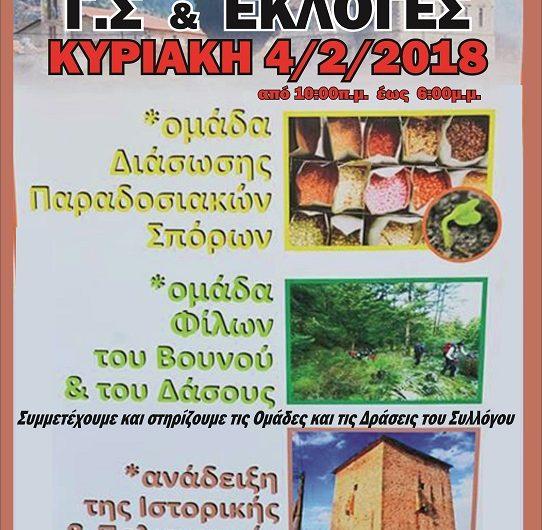 Απολογισμός και αρχαιρεσίες στον Εξωραϊστικό Σύλλογο Τσαριτσάνης