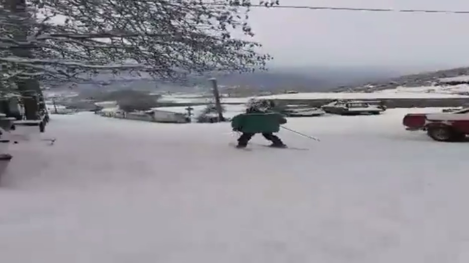 ΑΠΙΣΤΕΥΤΟ! Κάνουν σκι στον κεντρικό δρόμο της Καρυάς (βίντεο)